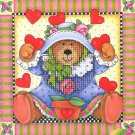 Simplicities Teddy Bear Mini Cross Stitch Kit Janlynn Hearts Plant Printed Mat