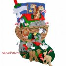 "Bucilla Noahs Ark Christmas Stocking Kit Felt 18"" Animals Applique Sequin 1997 Sealed"
