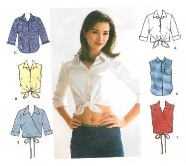 Daisy Duke Shirt Sewing Pattern Plus 14-20 Wrap Front Button Sleeveless 3/4 Sleeve 9200