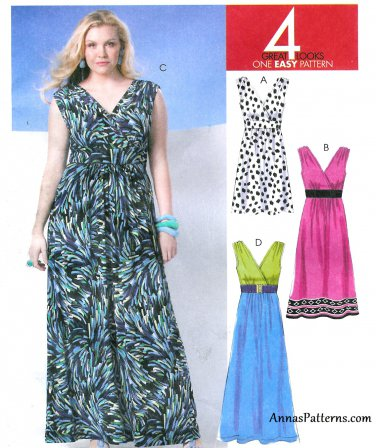 Easy Sleeveless Dress Sewing Pattern 8-16 Raised Bodice Greek Wrap Bodice Maxi 6073 Knee
