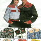 Western Shirt Sewing Pattern XS XL Unisex Cowboy Cowgirl 9689