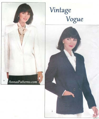 Vintage Vogue Sewing Pattern Misses Suit Jacket 14 Single Double Breasted Loose Fit 8083