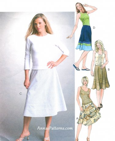 Bias Skirt Sewing Pattern 10-16 Flared Below Knee 4306