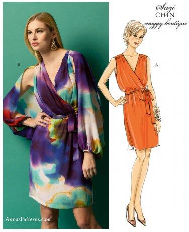 Suzi Chin Dress Sewing Pattern 8-16 Sleeveless V-neck Butterly Sleeve Above Knee 5884