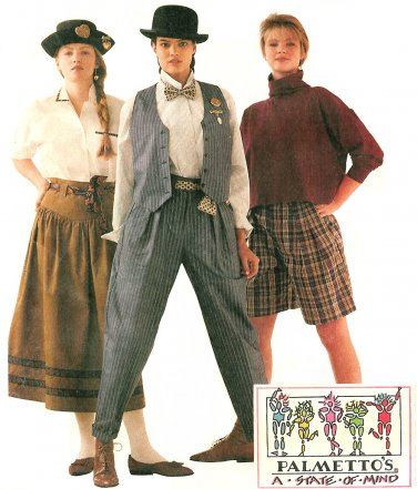 Misses Vest Baggy Pant Gypsy Skirt Sewing Pattern 8 Shorts Palmettos Annie Hall 4441
