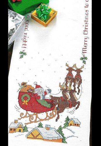 Over The Rooftop Table Runner Cross Stitch Kit Santa Sleigh Merry Christmas Bucilla