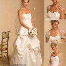 Strapless Wedding Dress Sewing Pattern 8-14 Bridal Gown Draped Skirt Lace Sleeve 5184