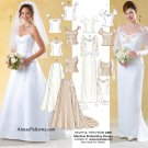 Wedding Gown Sewing Pattern 12-16 Top Skirt Train Strapless Sleeves 4131