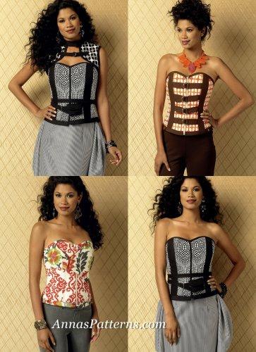 Corset Vest Sewing Pattern 6-14 Sweetheart Neckline Zipper Front Belt 6151
