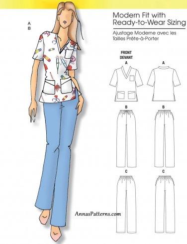 Easy Medical Scrubs Sewing Pattern 3-16 Plus Nurse Doctor Short Sleeve Top Pants 5301
