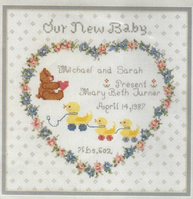 Birth Announcement Cross Stitch Kit Our New Baby 14 x 14 Needle Treasures