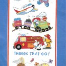 Things That Go Stamped Cross Stitch Kit Rocket Plane Train Firetruck Wagon Bike