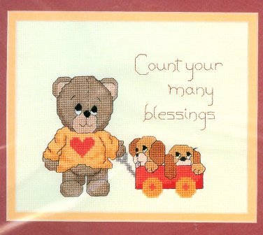 Vintage Teddy Bear Cross Stitch Kit Pitiful Lovable Pal Puppies Wagon Count Your Blessings Burdett