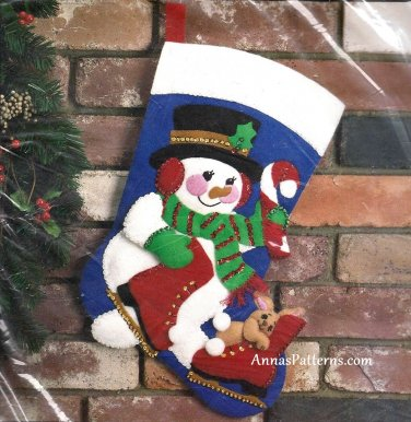 Storybook Felt Christmas Stocking Kit Frosty Snowman Sequin Rabbit Ice Skates Vintage 18 Inch Large