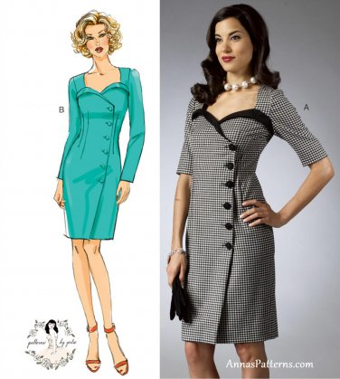 Long Sleeve Wrap Dress Sewing Pattern 6-14 Fitted Sweetheart Neckline Above Knee 5953