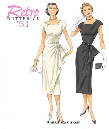 Retro 50s Dress Sewing Pattern 6-14 Slim Fitted Skirt Sash 5880
