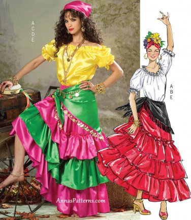Ruffled Tiered Skirt Top Sewing Pattern 4-14 Flamenco Dancer Peasant Gypsy Pirate 4889