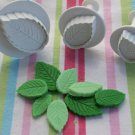 Veined Rose Leaf Fondant Plunger Cutter Press Mold - Small Set of 3