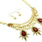 Red Crystal Pearl Chain Necklace Earrings Set Spikes & Pearl Necklace Red Stone