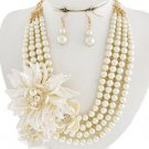 Cream Flower Cluster Pearl Necklace Set Multi Layer Pearl Flower Necklace Floral