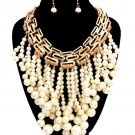 Statement Faux Pearl Set Gold and Cream Dangling Pearl Necklace Earrings Set