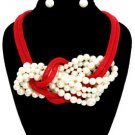 The Mashi Red Mesh and Cream Pearl Necklace Set Statement Fashion Jewelry