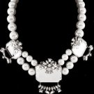 White Pearl Necklace with Clear Decorative Crystal Bib Statement Lightweight
