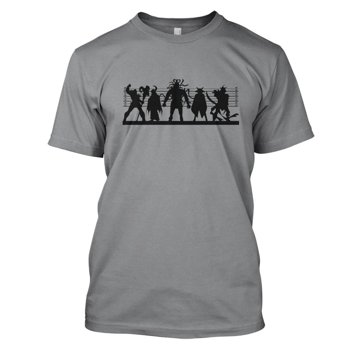 Retro Cartoon Villain Suspects Mens Movie T-Shirt Large Grey
