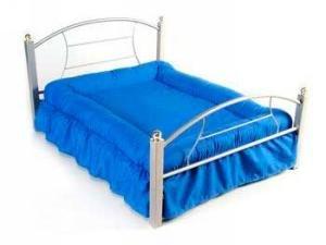 Dog Bed Platinum Frame, Blue Cushion