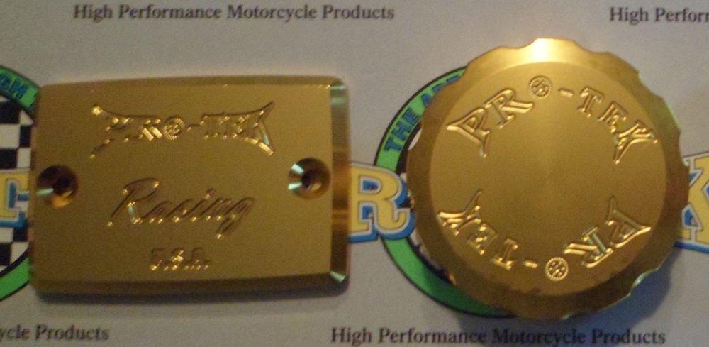 2000-2004 Kawasaki ZR7S ZR750 Gold Front & Rear Brake Fluid Reservoir Caps Pro-tek RC-550G RC-100G