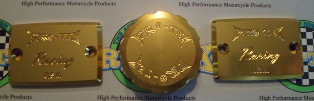 1999-2005 Kawasaki ZRX1100 ZRX1200 Gold Brake & Clutch Fluid Reservoir Caps Pro-tek RC-550G RC-100G