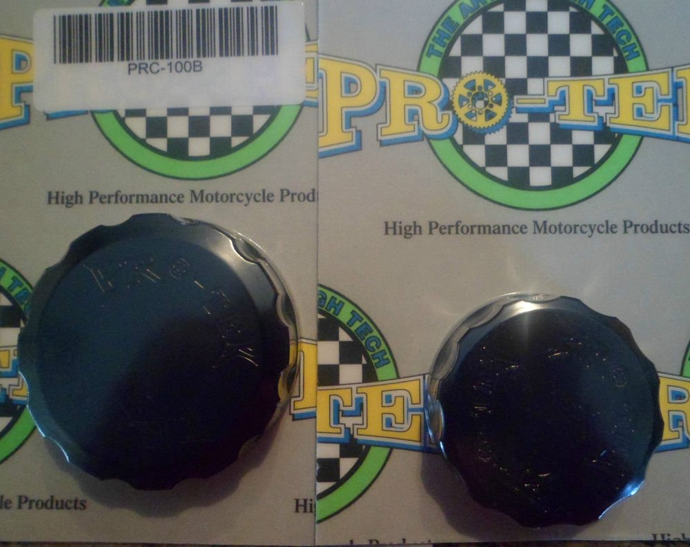 2003-2006 Yamaha YZF R6 Black Front & Rear Brake Fluid Reservoir Caps Pro-tek RC-100K RC-250K