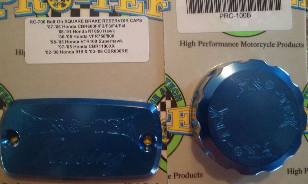 1995-19998 Honda CBR600F3 Blue Front Brake & Rear Brake Fluid Reservoir Caps Pro-tek RC-700B RC-100B