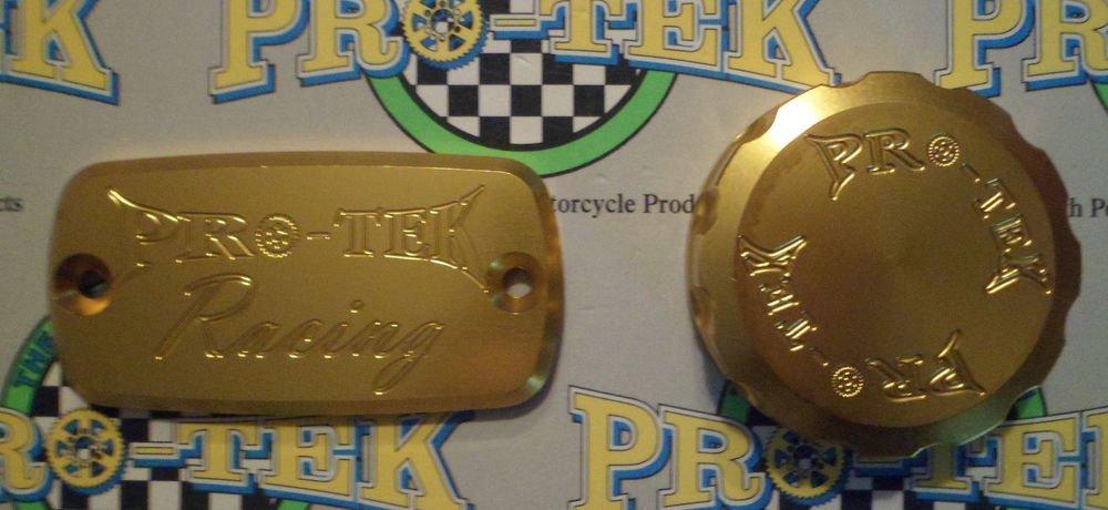 1995-1998 Honda CBR600F3 Gold Front Brake & Rear Brake Fluid Reservoir Caps Pro-tek RC-700G RC-100G