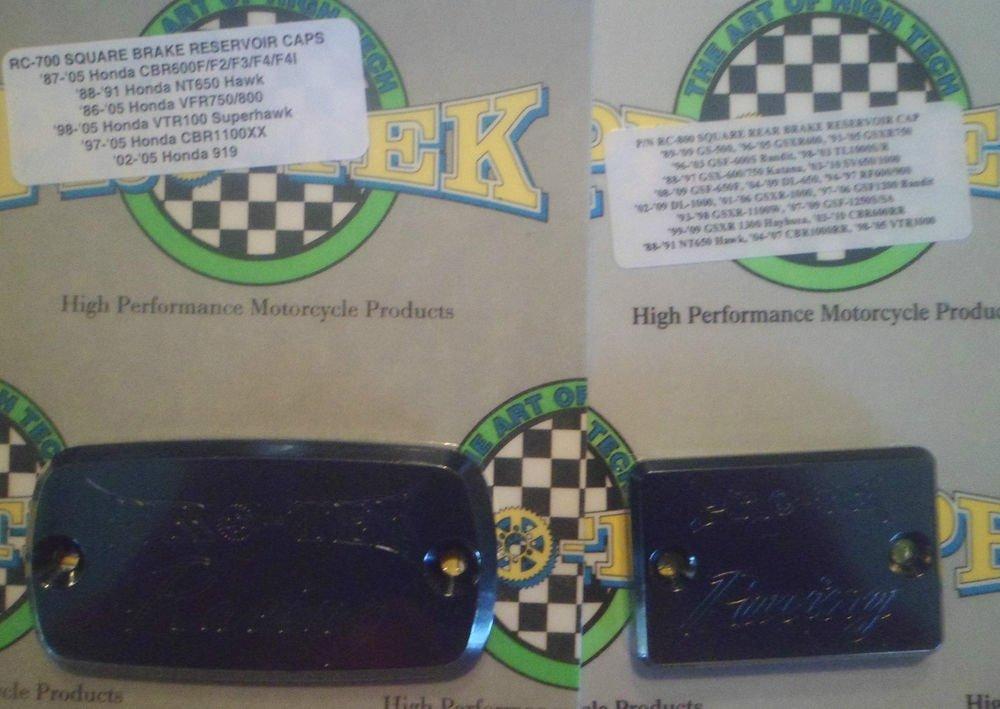 2003-2006 Honda CBR 600RR Black Front & Rear Brake Fluid Reservoir Caps Pro-tek RC-700K RC-800K