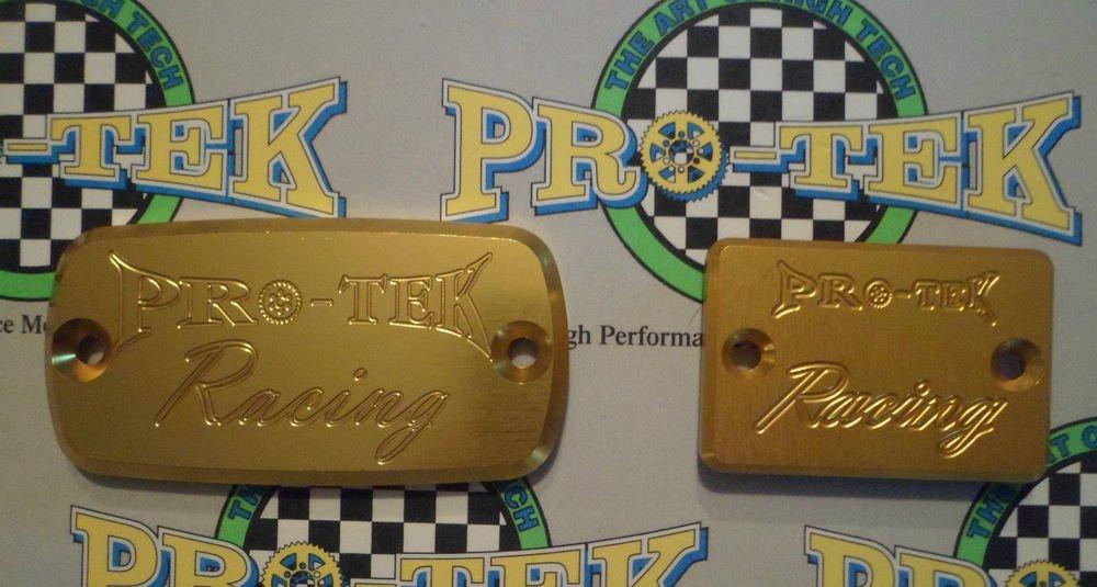 2003-2006 Honda CBR600RR Gold Front & Rear Brake Fluid Reservoir Caps Pro-tek RC-700G RC-100G