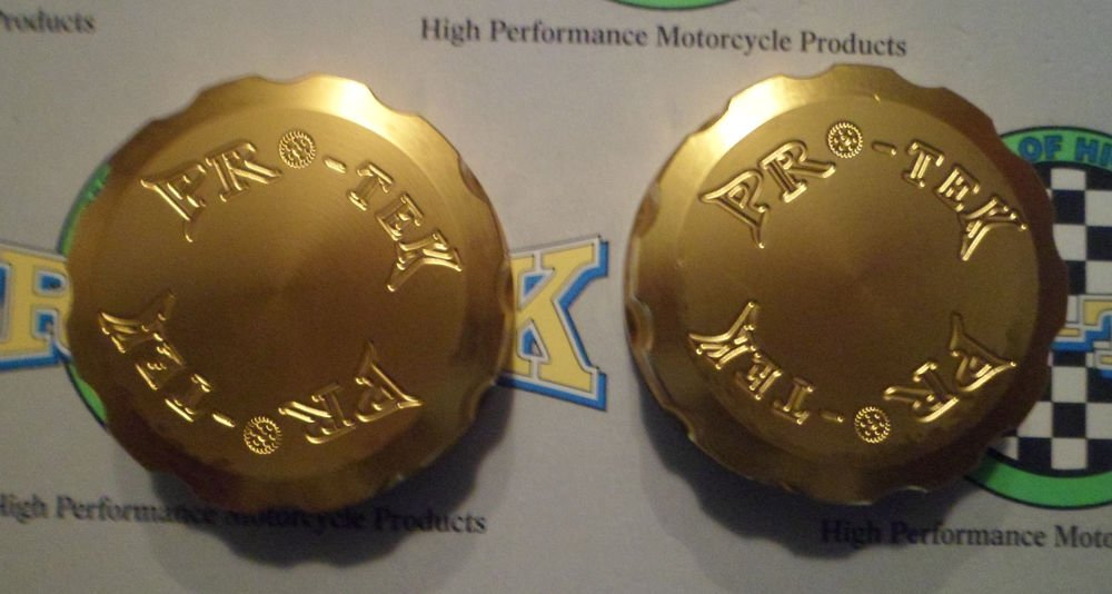 2009-2012 Kawasaki Ninja ZX6R Gold Front & Rear Brake Fluid Reservoir Caps ZX-6R Pro-tek RC-100G