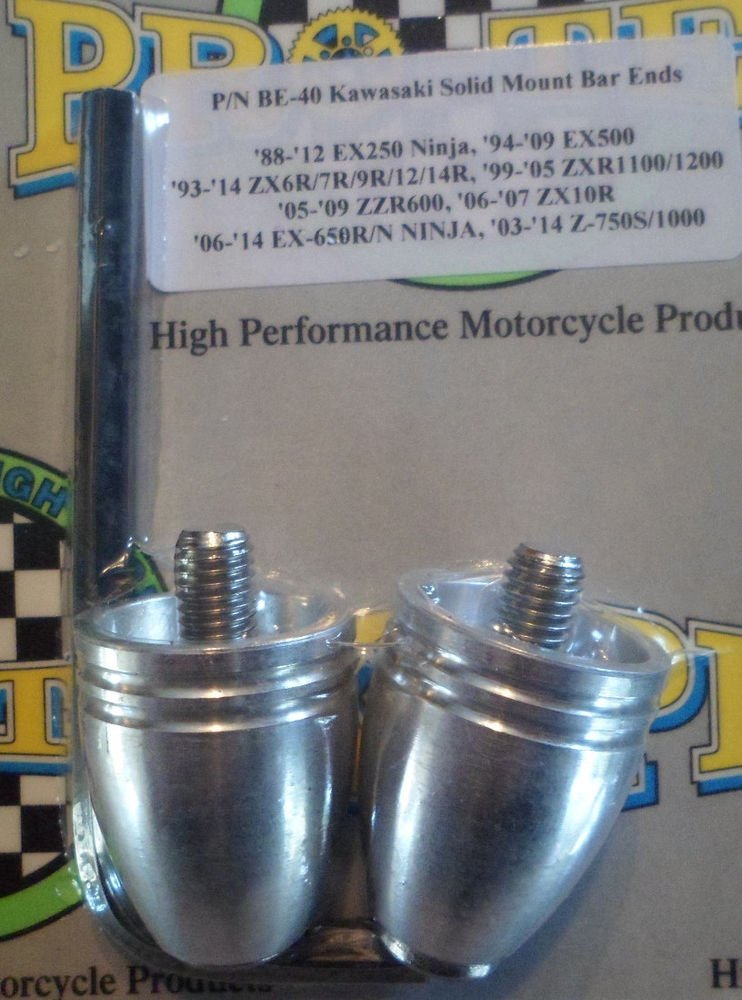 2003-2015 Kawasaki Z750 Z1000 Silver Bar Ends Z-750 Z-1000 Pro-tek BE-40BS