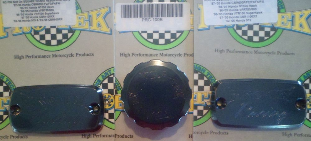 1987-1996 Honda CBR1000F Black Brake Fluid & Clutch Fluid Reservoir Caps Pro-tek RC-700K RC-100K