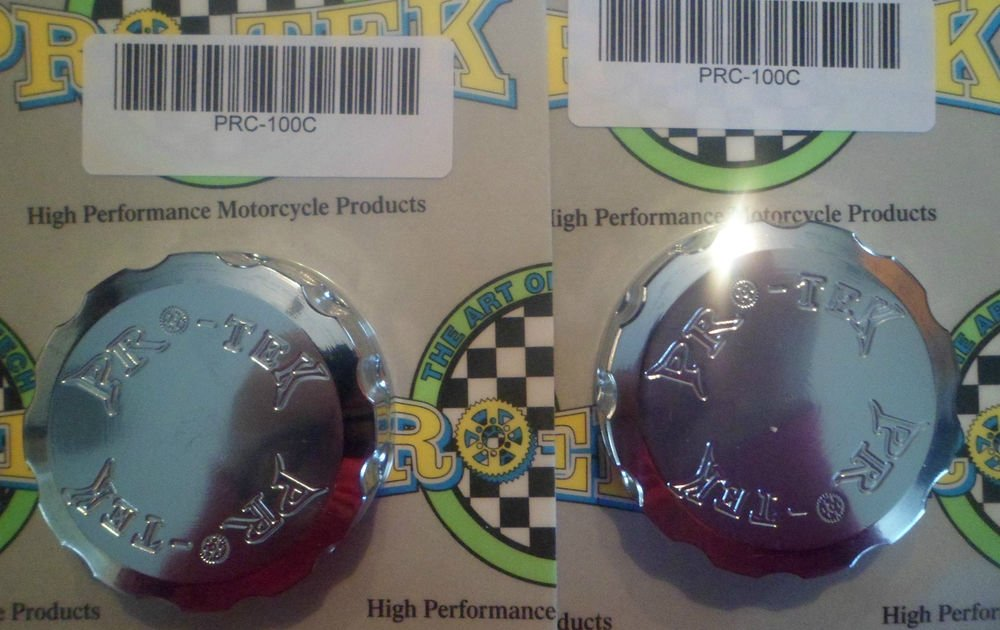 1998-2006 Kawasaki Ninja ZX6R Chrome Front & Rear Brake Fluid Reservoir Caps ZX-6R Pro-tek RC-100C