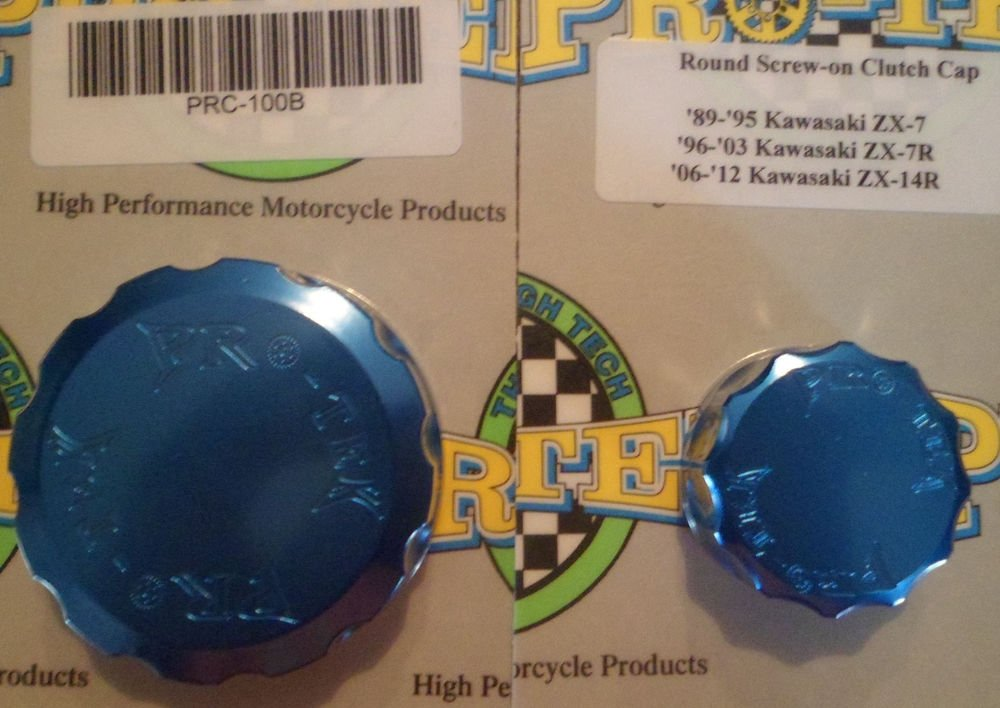 2013-2015 Kawasaki Ninja ZX6R Blue Front & Rear Brake Fluid Reservoir Caps Pro-tek RC-100B RC-300B
