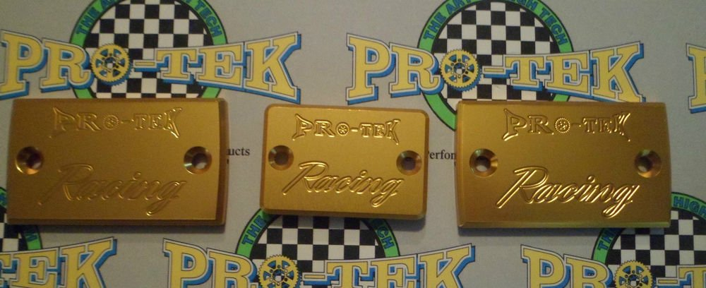 1994-1997 Suzuki RF900R Gold Brake & Clutch Fluid Reservoir Caps RF-900R Pro-tek RC-600G RC-800G