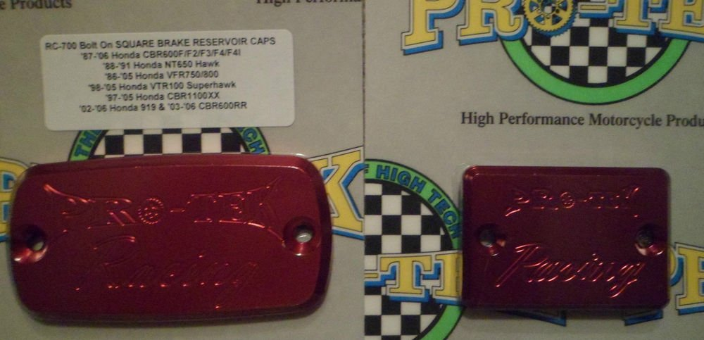 2003-2006 Honda CBR 600RR Red Front & Rear Brake Fluid Reservoir Caps Pro-tek RC-700R Rc-800R