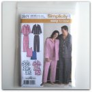 Simplicity Pattern 3971 Plus Size XL - XXXL Easy To Sew Misses Womens Mens Pajamas