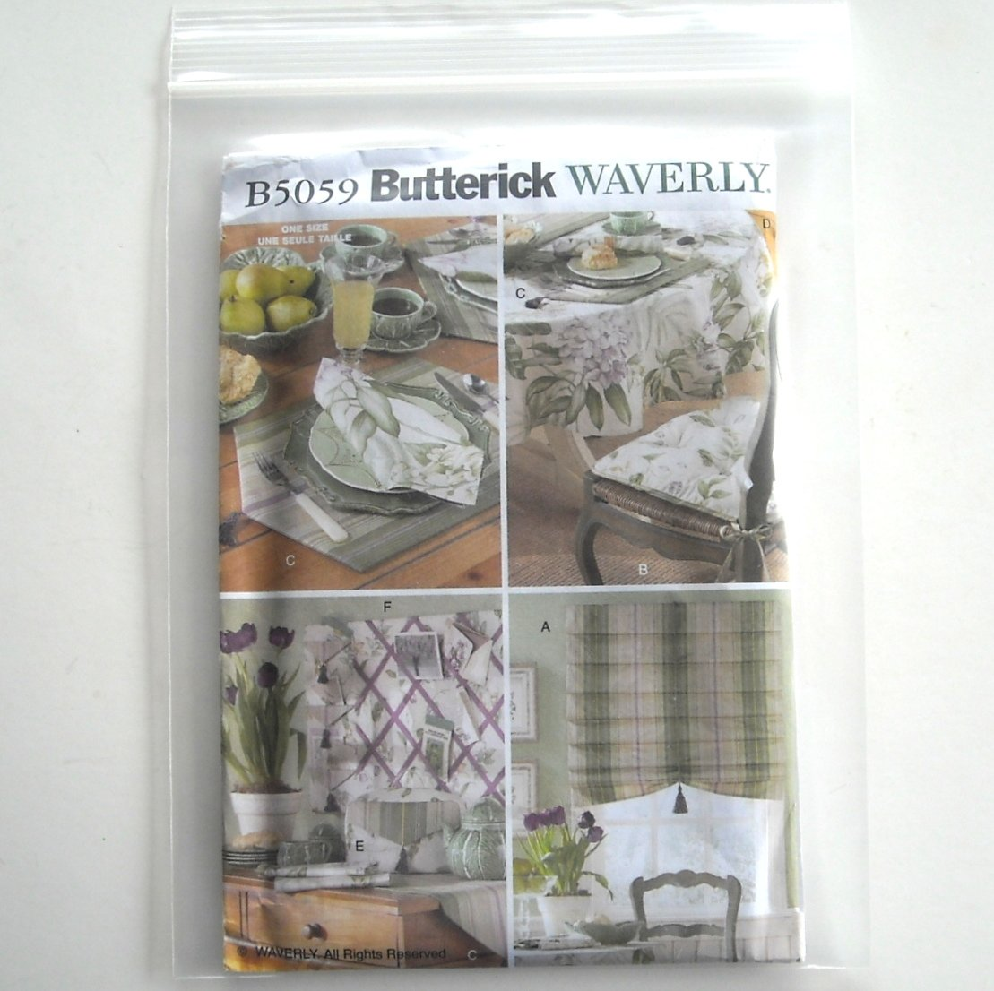 Butterick Pattern B5059 Waverly Kitchen Items Shade Table Runner Placemat