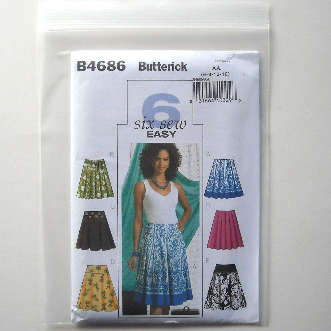 Butterick Pattern B4686 Size 6 - 12 6 Easy Misses Skirt