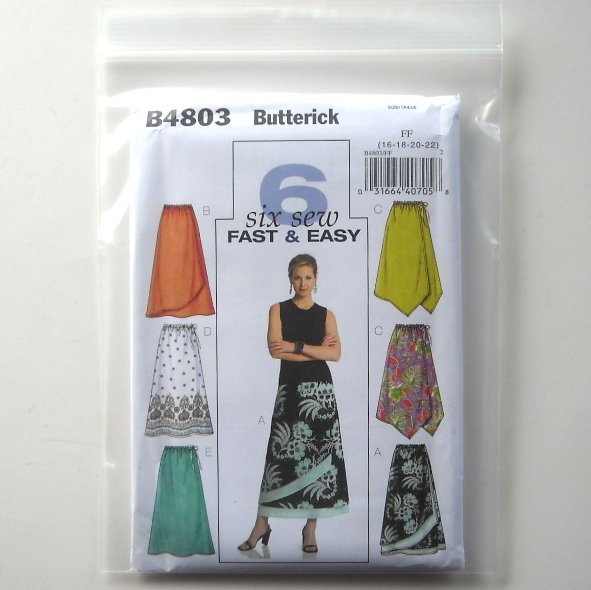 Butterick Pattern B4803 Size 16 - 22 6 Fast Easy Misses Petite Skirt