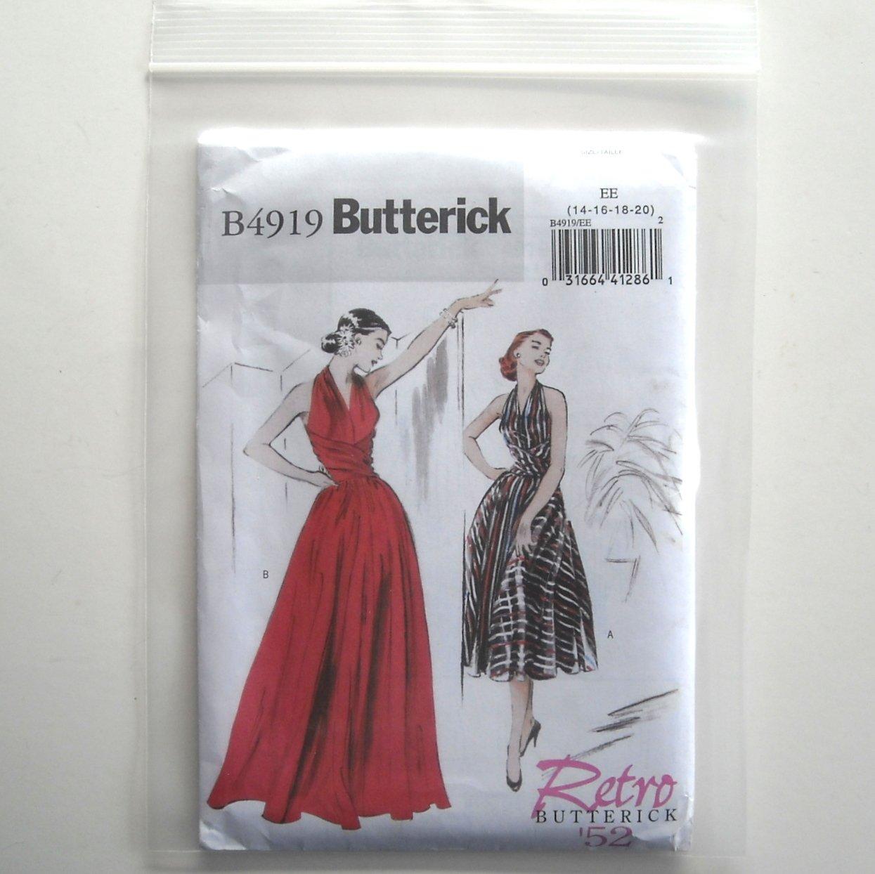 Butterick Pattern B4919 Size 14 - 20 Retro 1950s Misses Dress