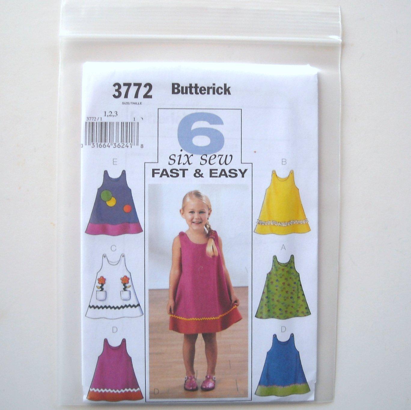 Butterick Pattern B3772 Size 1 - 3 Toddlers Childrens Girls Dress