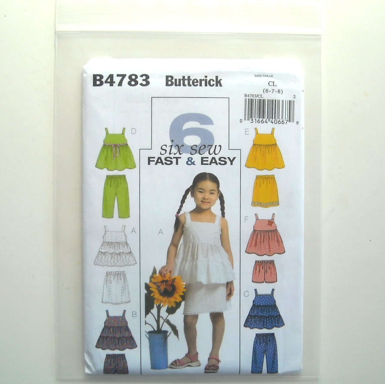 Butterick Pattern B4783 Out of Print Size 6 - 8 6 Fast Easy Girls Top Skirt Shorts Pants